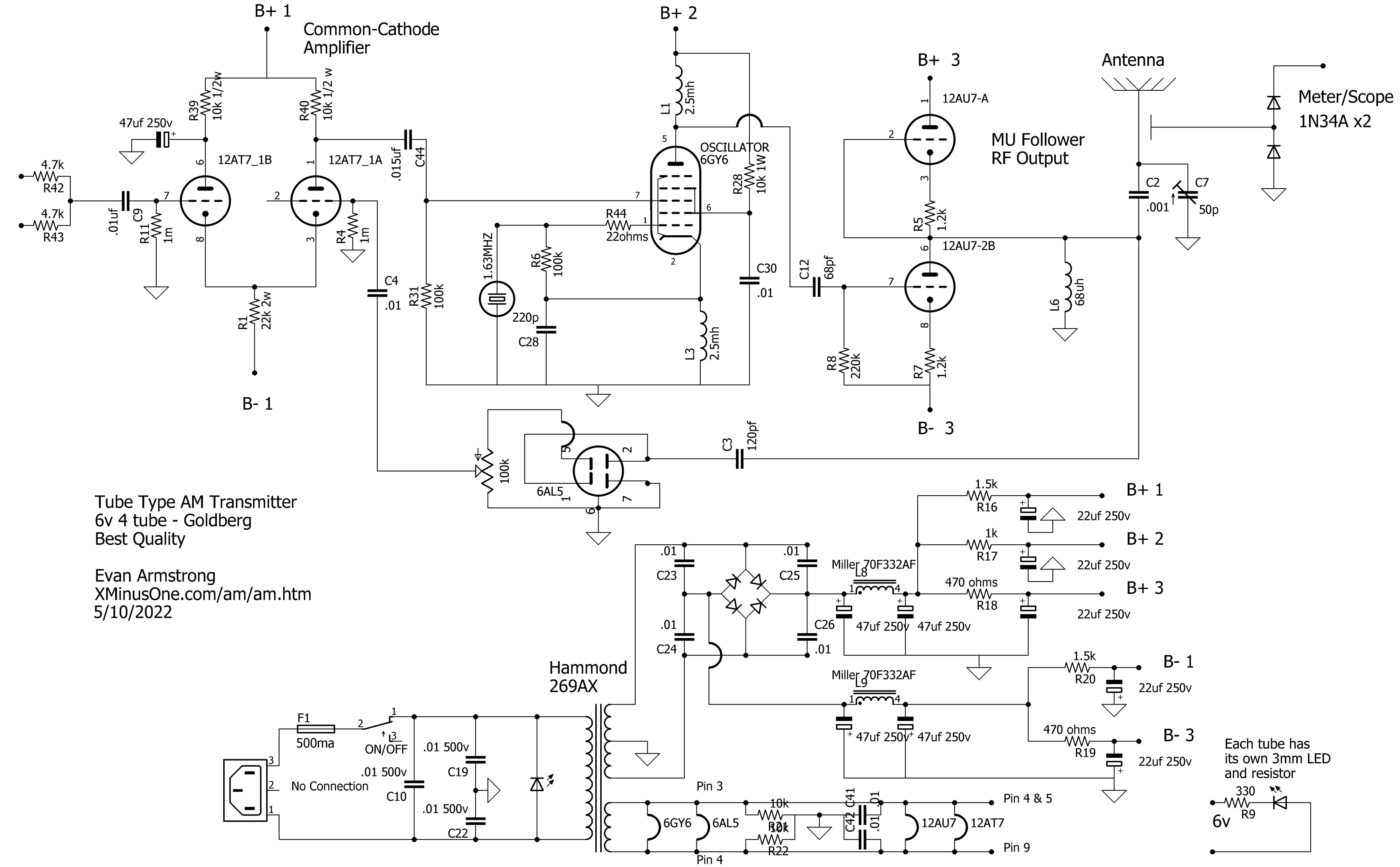 Evans Goldberg Revisited Tube Transmitter Reverse Bias Oscillator Circuit Tx Power Output 73 More As Mentioned By Fred
